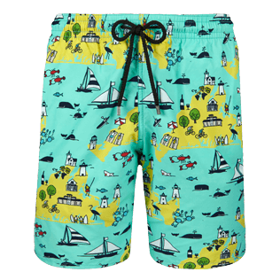 Men Long classic Printed - Men Long Swimwear Martha's Vineyard, Mint front