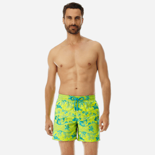 Men Embroidered Embroidered - Men Swimwear Embroidered Vague Heritage - Limited Edition, Chartreuse frontworn