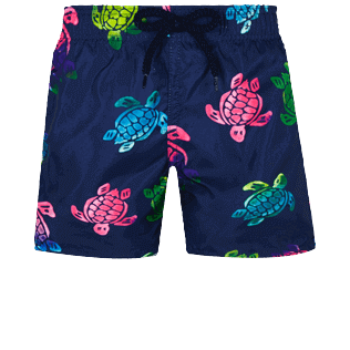 Niños Autros Estampado - Boys Ultra-light and packable Swimwear Ronde des Tortues Aquarelle, Azul marino front