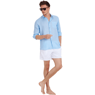 Men Others Solid - Men Linen Shirt Solid, Sky blue supp2