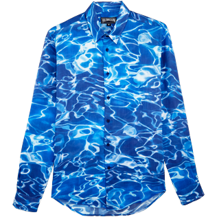 Others Printed - Unisex Linen Jersey Shirt Splash, Neptune blue front