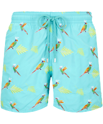 Hombre Clásico Bordado - Men Swimwear Embroidered Multicolore Parrots - Limited Edition, Lazulii blue front