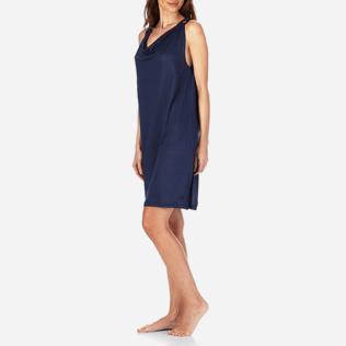 Women Dresses Solid - Women Cowl neck Linen Jersey Dress Solid, Navy frontworn