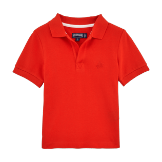 Boys Polos Solid - Cotton pique polo, Poppy red front