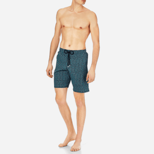 Men Long classic Printed - Men Stretch Swimtrunks Modernist Fish, Navy frontworn