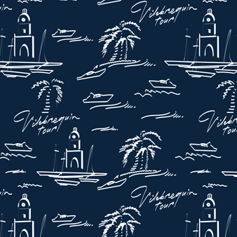 Men Embroidered swimtrunks St Tropez - Limited Edition, Navy pattern