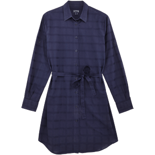 Women Others Graphic - Women Long Cotton voile Shirt Dress Carreaux, Navy front