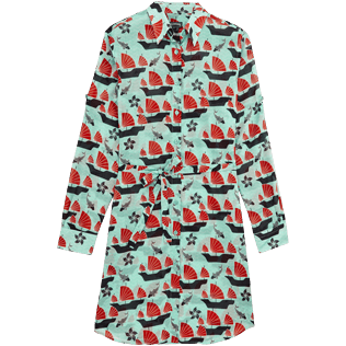 Women Others Printed - Women Long Cotton Voile Shirt Dress Hong Kong, Mint front