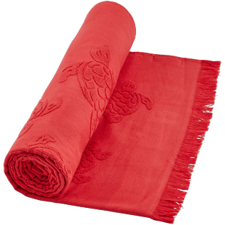 Others Solid - Fouta in terry cloth Turtles Jacquard, Red polish supp1