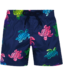 男童 Others 印制 - Boys Ultra-light and packable Swimwear Ronde des Tortues Aquarelle, Navy front