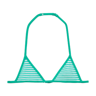 Girls Tops Graphic - Striped Terry Triangle shape bikini top, Lagoon front