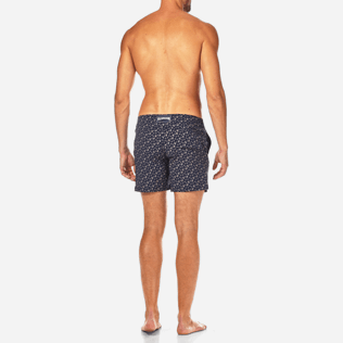 Men Fitted Printed - Micro Ronde des Tortues Superflex Fitted cut Swim shorts, Navy backworn