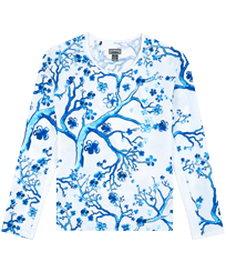 Women Others Printed - Long Sleeves Women Rashguard Cherry Blossom , Sea blue front