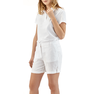 Women Others Solid - Solid Linen Bermuda shorts, White frontworn