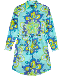 Women Others Printed - Women Cotton Shirt Dress Kaleidoscope, Lagoon front