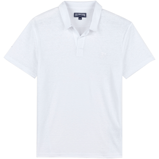 Men Others Solid - Men Linen Jersey Polo Shirt Solid, White front