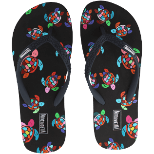 Women Others Printed - Women Flip Flop Over the Rainbow Turtles, Black front