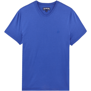Men Others Solid - Men Mercerized Cotton T-Shirt V-neck Solid, Sea blue front