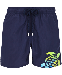 Men Classic Lazercut - Men Swim Trunks Placed embroidery Holi Party, Navy front