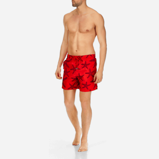 Men Embroidered Embroidered - Men Swimwear Embroidered Starlettes - Limited Edition, Poppy red frontworn