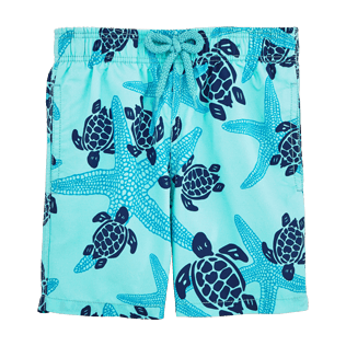Boys Classic / Moorea Printed - Starlettes & Turtles Swim Shorts, Lagoon front