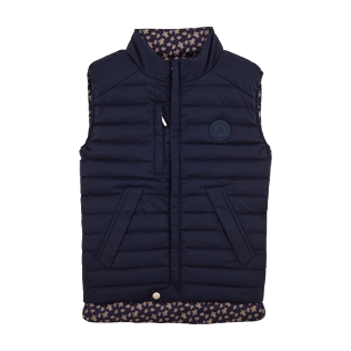 Vests AND Jackets Printed - Sleeveless Doudoune Micro ronde des tortues, Navy front