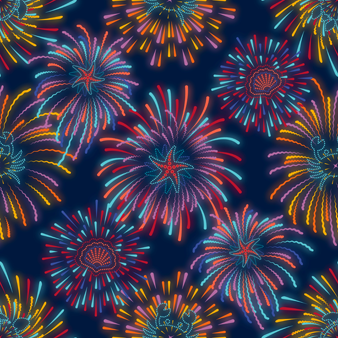 Men Swimwear Stretch Fireworks, Navy pattern