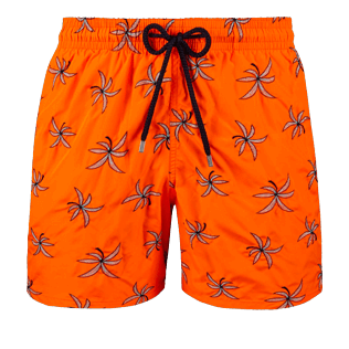 Men Embroidered Embroidered - Men Ultra-Light and packable embroidered Swimwear Palm Beach - Limited Edition, Neon orange front