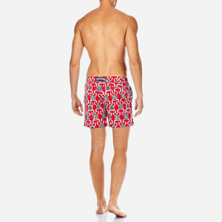 Men Fitted Printed - Primitive Turtles Superflex Fitted cut Swim shorts, Poppy red backworn