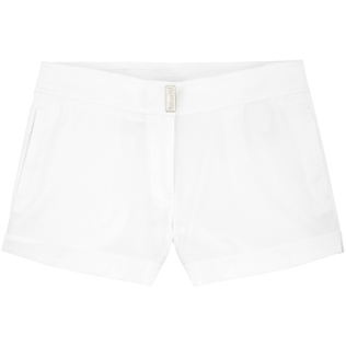 Women Shorties Solid - Women Stretch Swimwear fabric Shortie Solid, White front