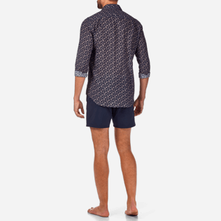 Others Printed - Micro Ronde des Tortues Cotton veil shirt, Navy backworn