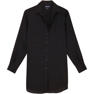 Women Shirts Solid - Solid Linen Long cut boyfriend shirt, Black front