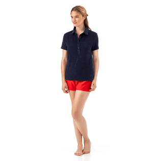 Women Polos Solid - Solid Terry Polo, Navy frontworn