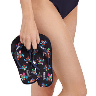 Women Others Printed - Women Flip Flop Over the Rainbow Turtles, Black backworn