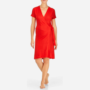 Women Dresses Solid - Solid Linen Wrap-Around Dress, Poppy red frontworn