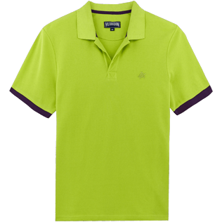 Men Others Solid - Men Cotton Pique Polo Shirt Solid, Cactus front
