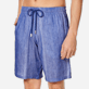 Men Others Graphic - Men Linen Cotton Shorts Bermuda Multi Rayures, Navy supp1