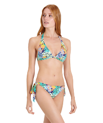 Women Classic brief Printed - Women Brief to be tied Bikini Bottom Jungle, Midnight blue frontworn