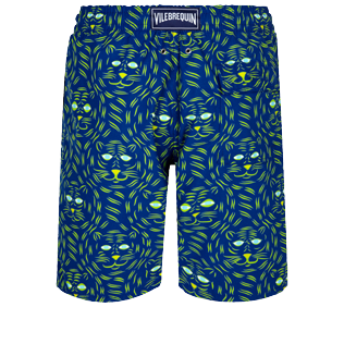 Men Long classic Printed - Men Long Swim Trunks Bengale Tigers, Batik blue back