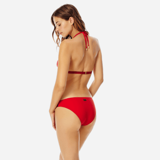 Donna Foulard Unita - Top bikini donna all'americana Tuxedo, Red polish backworn