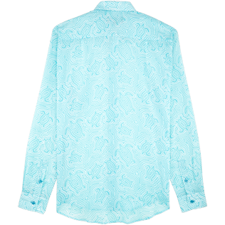 Shirts Printed - Unisex Cotton Voile Shirt Hypnotic Turtles, Lagoon back