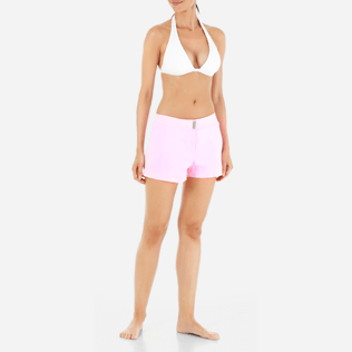 Women Others Solid - Women Stretch Swimwear fabric Shortie Solid, Peony frontworn
