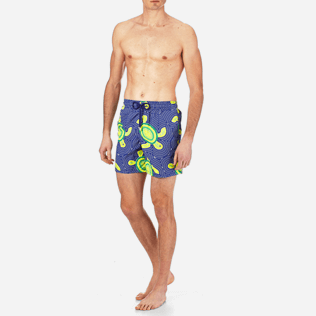 Men Classic Printed - Men Swimtrunks Mosaic Turtles, Neptune blue frontworn