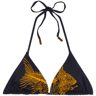Women Tops Printed - Prehistoric Fish Triangle shape bikini top, Navy front