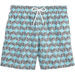 Men Classic Printed - Fishes Cube Swim shorts, Azure front