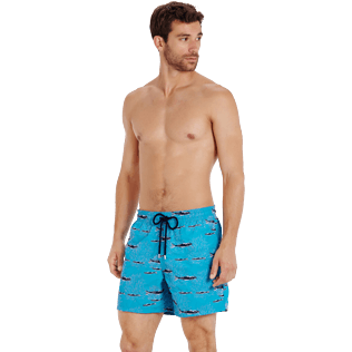 Men Classic Embroidered - Men Swim Trunks Coral & Fish - Limited Edition, Curacao frontworn