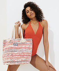 Others Printed - Large Beach Bag Eco-friendly, Red frontworn