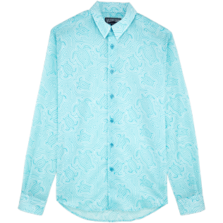Others Printed - Unisex Cotton Voile Shirt Hypnotic Turtles, Lagoon front