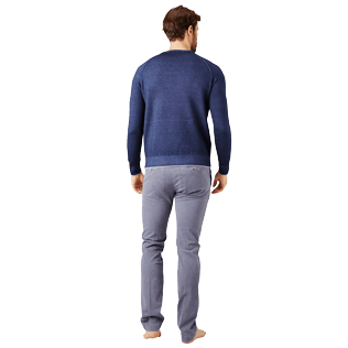 Men Others Solid - Men Wool Crewneck, Navy backworn