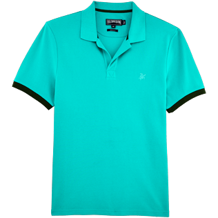 Men Polos Solid - Solid Cotton pique polo, Veronese green front